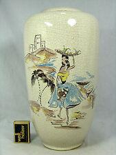 Handpainted  50´s WGP design Silberdistel  Keramik vase  crackle glaze  117 / 30