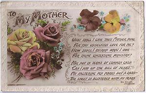 To My Mother -  Vintage Postcard - Floral Design