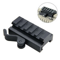Black Quick Release Scope Riser Mount Adapter 5 Slots For 20mm Picatinny Rail