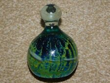 MDINA GLASS TURQUOISE & YELLOW BOTTLE SHAPED PAPERWEIGHT MALTA