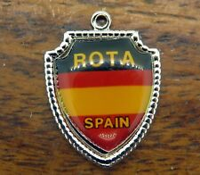 Vintage sterling silver Spain Country Rota Flag Souvenir Travel Shield charm #E8