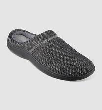 $95 Isotoner Mens Gray Memory Foam Moisture-Wicking Hoodback Slippers Shoe 13-14