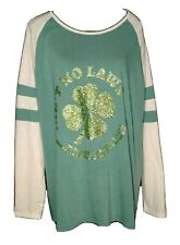 """Sunnyme Green Sparkle """"Shamrock n'Claws"""" Baseball T-Shirt Women's Size Xxl (16)"""