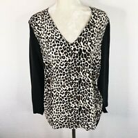 Club Monaco Silk Blouse Sz Large Black Leopard Animal Print Long Sleeve V-Neck
