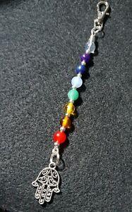 Chakra Stones Reiki Healing Crystal Set Keyring, Hand of Fatima Charm