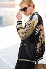 ZARA ORIENTAL EMBROIDERED REVERSIBLE BOMBER JACKET SIZE: M