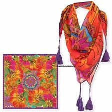 "Laurel Burch SCARF Shoulder Wrap 35"" Flora Orange Purple Square NEW"