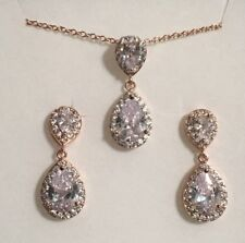 EARRING AND NECKLACE SET WHITE GOLD, ROSE GOLD, YELLOW GOLD, CRYSTAL, WEDDING