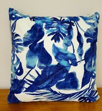 Blue Hamptons Style Inky Palms Outdoor 45cm Cushion Cover