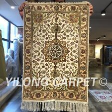 Yilong 2'x3' Handmade Silk Carpets Classic Indoor Porch Floral Area Rug WY289C