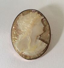 Gorgeous!!! Antique Mother Of Pearl Lady Portrait Gold-filled Cameo Brooch Pin