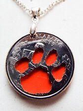 Hand Cut Alabama Quarter with the College football Logo made into a Necklace