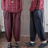 ZANZEA Plus Women Elastic Waist Harem Pants Baggy Casual Wide Legs Trousers Plus