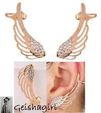 Ear Cuff Fashion Women's Stud CZGem Earrings Gold Filled Angel Wings UK Seller