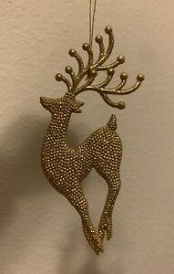 Gold Glitter Reindeer Deer Buck Christmas Ornament