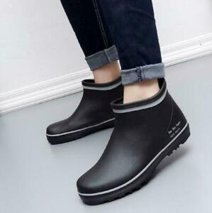 Black Mens Rain Ankle Boots pull on  Waterproof Rubber Non-Slip Flats Shoes