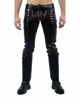 MEN'S COWHIDE LEATHER JEANS RED STRIPES DOUBLE ZIP PANTS JEANS