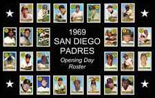 1969 San Diego Padres Opening Day Baseball Card Poster 17x11 Unique Art Decor