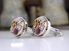63b8ace4f4d2 Steampunk Watch Cufflinks with Amethyst Swarovski Crystals