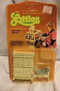 The Littles Armoir Cradle Diecast Dollhouse Furniture Mattel 1980 vintage in Pkg