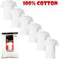 6-Pack V-Neck For Men's 100% Cotton Tagless T-Shirt Undershirt Tee White
