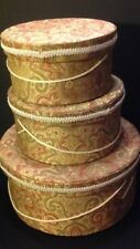 "Vintage Set of Fabric Cover Hat Boxes Sizes:15"" x 7"" -11"" x 6"" & 10"" x 5"""