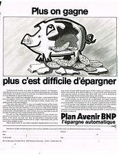 Publicité Advertising 1973 Banque Plan Avenir BNP