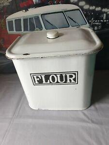Vintage White Enamel Tin Flour Bin Rare Oblong Shape.