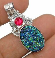 Natural Titanium Druzy 925 Solid Sterling Silver Pendant Jewelry, ED12-1
