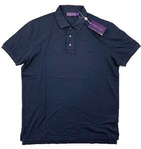 Ralph Lauren Purple Label Navy Blue Cotton Polo Shirt Medium Made in Italy