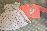 Next Baby Neon Cardigan 1 Month And Next Strawberry Dress 0-3 Months New