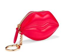 VICTORIA'S SECRET KEYCHAIN shiny Red Lips Lip Shaped CHANGE Coin Pouch ID PURSE