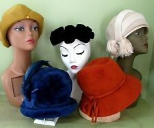 Vintage Ladies Fall Color Hat Collection Of 5 / Felt And Wool