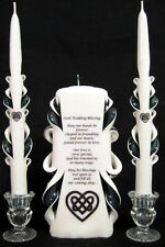 Set of 3 Celtic Irish Blessing carved wedding unity candles - Personalized Free!