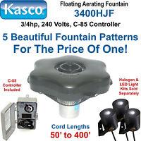 Kasco Marine 3400HJF200 Decorative Aerating Fountain, 3/4hp 240 volt, 200' Cord