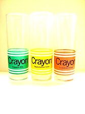 Vintage CRAYOLA Glasses-Screwdriver-Tequila Sunrise-Singapore Sling-Set Lot