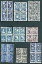 NEWFOUNDLAND George VI MNH 1937-1947 blocks of 4