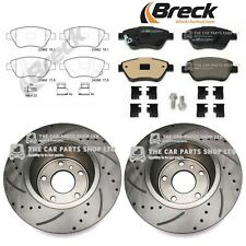 FOR VAUXHALL CORSA D 1.2 MK3 2006> FRONT DRILLED GROOVED BRAKE DISCS BRECK PADS