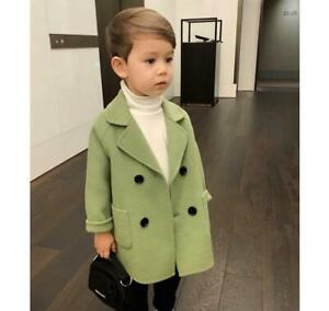 Boys Kids Double breasted Parka Check Wool Blend Coat Trench Jacket Overcoat uk