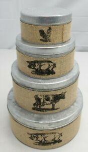 4 Piece Galvanized Metal Burlap Farm Animas Kitchen Canister Stackable Tin Set