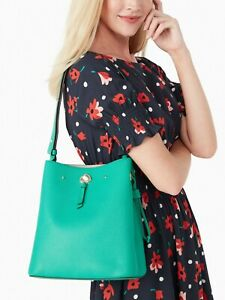 Kate Spade Marti Green Leather Large Bucket Shoulder Bag WKRU6827 NWT $399 FS