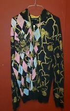 Men's Christian Audigier Ed Hardy Argyle & Chains Hoodie Jacket Coat Size 2XL