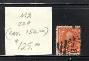 USA,90 cent orange, Perry, No 229, USED, Cat Value $150.00   3119
