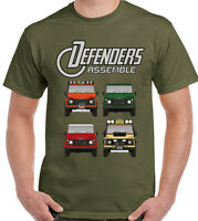 Defenders Assemble Mens Funny T-Shirt 90 110 140 Avengers 4X4 Land Rover Parody