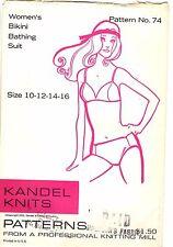 Vintage 1970s Kandel Sewing Pattern Women's BIKINI SWIMSUIT 74 Sz 10 to 16 UNCUT