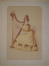 LITHOGRAPHIE Ancienne Romance Femme Harpe ROEDEL 1898 XIXe Estampe Moderne