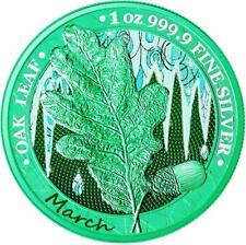 Germania 2019 5 Mark Oak Leaf - 12 Months Series - March 1 Oz Silver Coin