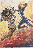 "Wonder Woman vs Captain Marvel (12""x17"") Original Art Comic - Ed Benes Studios"