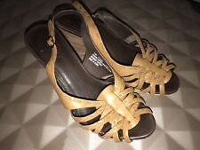 TIMBERLAND TAN  LEATHER SLINGBACK STRAPPY WEDGE SANDALS UK 5 EUR 38