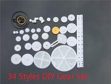 34pcs Plastic DIY Gear Set Include Rack Pulley Belt Worm Single Double Gear K011